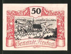 Notgeld Treubach 1920, 50 Heller, Kirchenmotiv