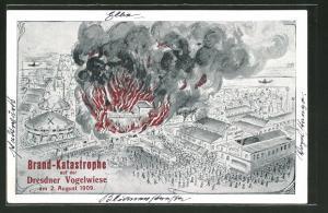 AK Brand auf dr Dresdener Vogelwiese am 02. August 1909