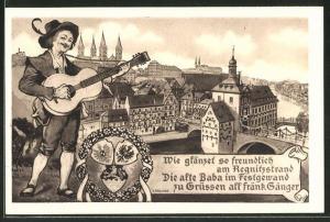 Künstler-AK Bamberg, XII. Fränkisches Sängerfest 1914, Ganzsache Bayern PP 38 C 17 / 01, Sänger u. Stadtpanorama