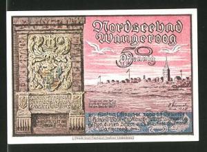 Notgeld Wangeroog, 50 Pfennig, Stadtwappen und Ortsansicht, Westturm