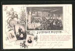 AK Salzburg, Salzburger Braustübl v. S. Severin, Innenansicht