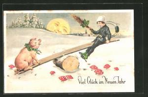 AK Glück im neuen Jahr, Schornsteinfeger und Schwein auf Wippe