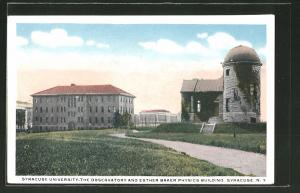AK Syracuse, NY, Syracuse University, the Observatory and the Esther Baker Physics Building, Sternwarte