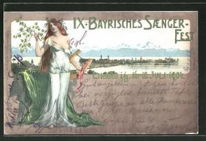 Künstler-AK Lindau, IX. Bayrisches Sängerfest 1904, Panoramablick auf den Ort