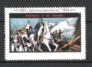 Reklamemarke Befreiungskriege, Jahrhundertfeier 1813-1913, Napoleon in der Schlacht