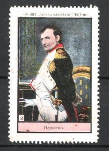 Reklamemarke Befreiungskriege, Jahrhundertfeier 1813-1913, Portrait von Napoleon