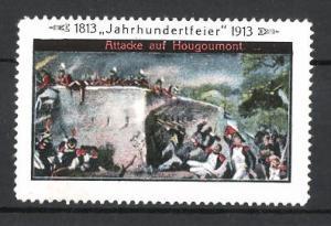 Reklamemarke Befreiungskriege, Jahrhundertfeier 1813-1913, Attacke auf Hougoumont