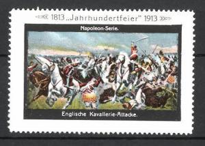 Reklamemarke Befreiungskriege, Jahrhundertfeier 1813-1913, Englische Kavallerie-Attacke