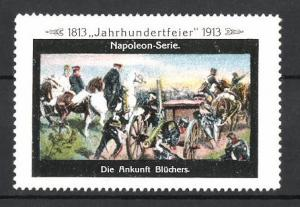 Reklamemarke Befreiungskriege, Jahrhundertfeier 1813-1913, die Ankunft Blüchers