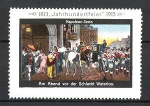 Reklamemarke Befreiungskriege, Jahrhundertfeier 1813-1913, am Abend vor der Schlacht Waterloo