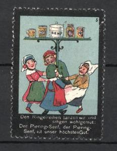 Reklamemarke Piering-Senf, Kinder mit Senf