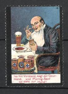 Reklamemarke Piering-Senf, Mann isst Senf