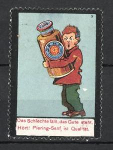 Reklamemarke Piering-Senf, Mann trägt Senfglas