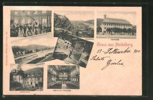 AK Heidelberg, Universität, Mensur in der Hirschgasse und Gesamtansicht