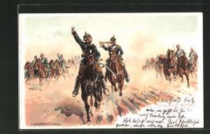 Künstler-Lithographie Anton Hoffmann - München: Auffahrende Batterie, Soldaten auf Pferden