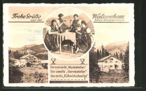 AK Walserschanz, Blick auf Grenzwirtshaus Walserschanz, Damen in Tracht mit Wein und Gitarre