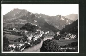 AK Losenstein a. d. Enns, Ortspanorama mit Brücke und Gebirge