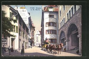 AK St. Moritz, Postkutsche hält vor der Post