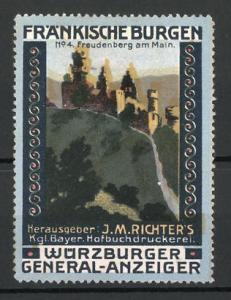 Reklamemarke Serie: Fränkische Burgen, Freudenburg am Main