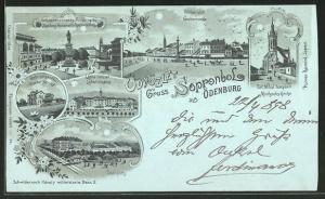 Mondschein-Lithographie Sopron-Ödenburg, Grabenrunde, Raaber Bahnhof, Michealis Kirche