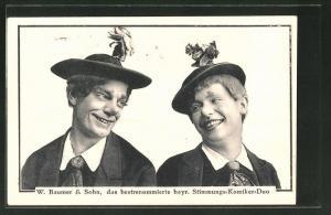 AK Komiker-Duo W. Baumer & Sohn als Clown verkleidet