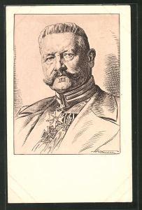 Künstler-AK Porträt Generalfeldmarschall Paul von Hindenburg