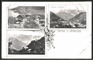 AK Schruns, Gasthaus Stern, Kloster Gauenstein , Ortsansicht