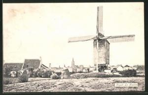 AK Heyst, le Moulin, Windmühle im Ortsbild