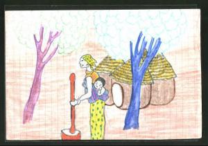 Künstler-AK Handgemalt: Afrikanerin mit Kind mörsert Getreide