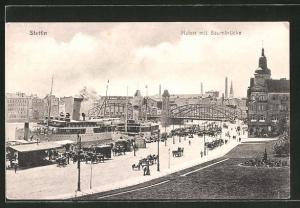 AK Stettin, Hafen mit Baumbrücke