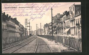 AK Heyst-sur-Mer, Boulevard Léopold II, Eisenbahnstrecke