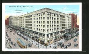 AK Milwaukee, WI, Strassenbahn an der Plankinton Arcade