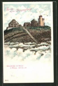 Lithographie Schneekoppe mit Station in Wolken