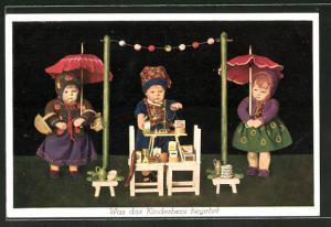 AK Käthe Kruse-Puppen mit kleinem Verkaufsstand