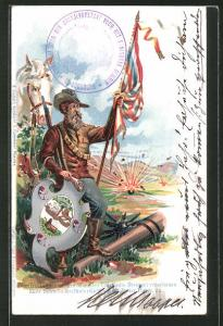 Lithographie Soldat mit Fahne und Wappenschild, Spendenkarte für Hinterbliebene gefallener Buren