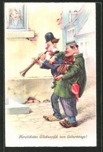 Künstler-AK Arthur Thiele: Männer spielen ein Ständchen für die Dame am Fenster, Herzlichen Glückwunsch
