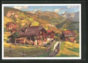 AK Herbstlandschaft von E. Hodel, Pro Juventute