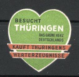 Reklamemarke Besucht Thüringen, das grüne Herz Deutschlands