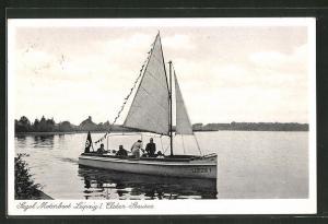 AK Elster-Stausee, Segel-Motorboot Leipzig mit