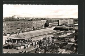 AK Duisburg Blick zum Hauptbahnhof aus der Vogelschau