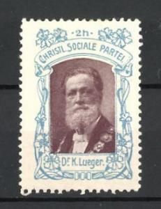 Reklamemarke Christlich Soziale Partei, Porträt Dr. K. Lueger