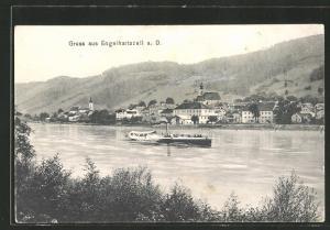 AK Engelhartszell a. Donau, Blick zum Ort vom Ufer aus, Dampfer