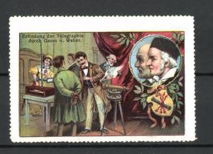 Reklamemarke Erfindung der Telegraphie durch Gauss und Weber