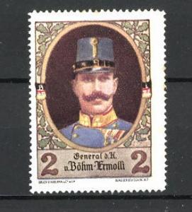 Reklamemarke Porträt General d. K. Eduard von Böhm-Ermoli in Uniform