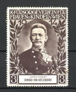 Reklamemarke Kriegs-Fürsorgeverein Wien, Porträt Generalstabchef Conrad von Hötzendorf