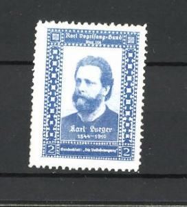 Reklamemarke Karl Vogelsang-Bund, Porträt Karl Lueger, blau
