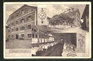 AK Fulpmes, Gasthof Pfurtscheller (Neue Post), Speisesaal, Aussenansicht, Strassenpartie