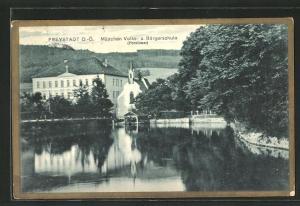 AK Freystadt, Mädchen Volks- und Bürgerschule (Pensionat) mit Teichpartie