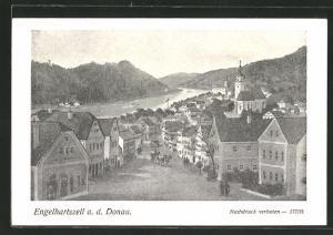Künstler-AK Engelhartszell a. d. Donau, Stadtblick mit Strassenpartie