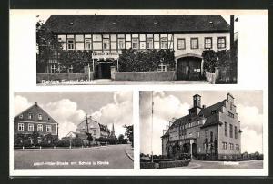 AK Gröditz, Kurt Richters Gasthof Gröditz, -Strasse mit Schule & Kirche, Rathaus
